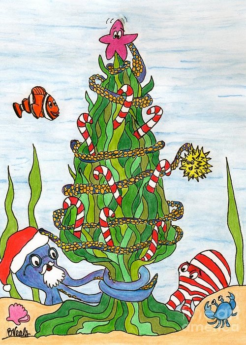 Christmas Greeting Card featuring the drawing Christmas Of The Sea Tree by Bev Veals