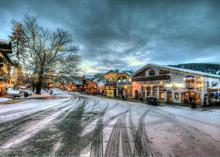 Hdr Greeting Card featuring the photograph Christmas On Main Street by Brad Granger