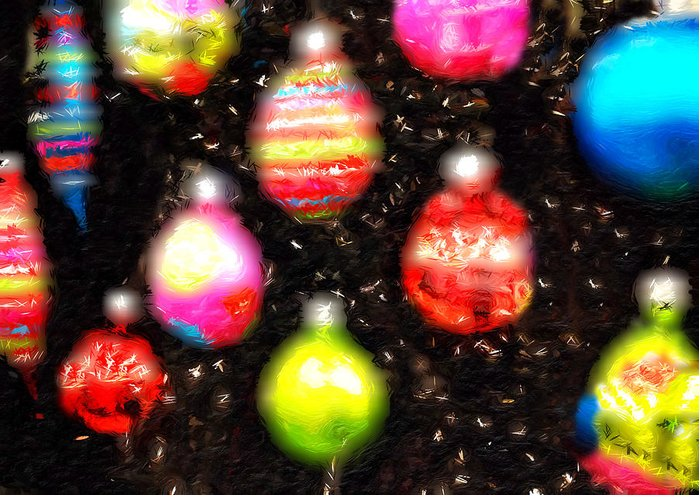 Landscape Greeting Card featuring the photograph Christmas Ornaments Abstract One by Morgan Carter