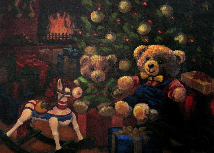 Christmas Greeting Card featuring the painting Christmas Past by Karen Ilari