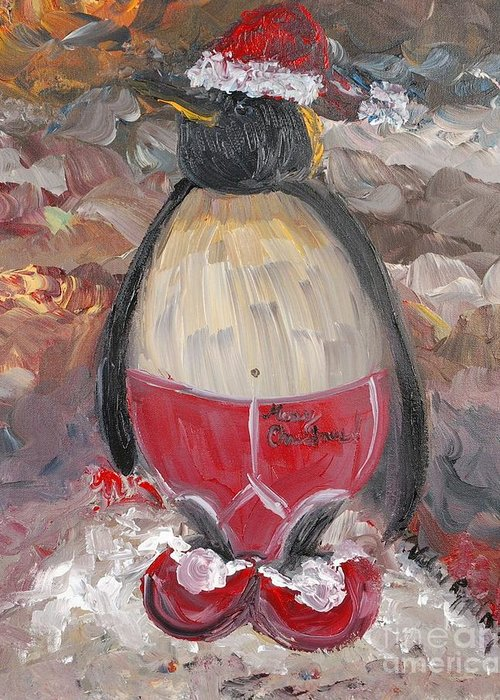 Penguin Greeting Card featuring the painting Christmas Penguin by Nadine Rippelmeyer