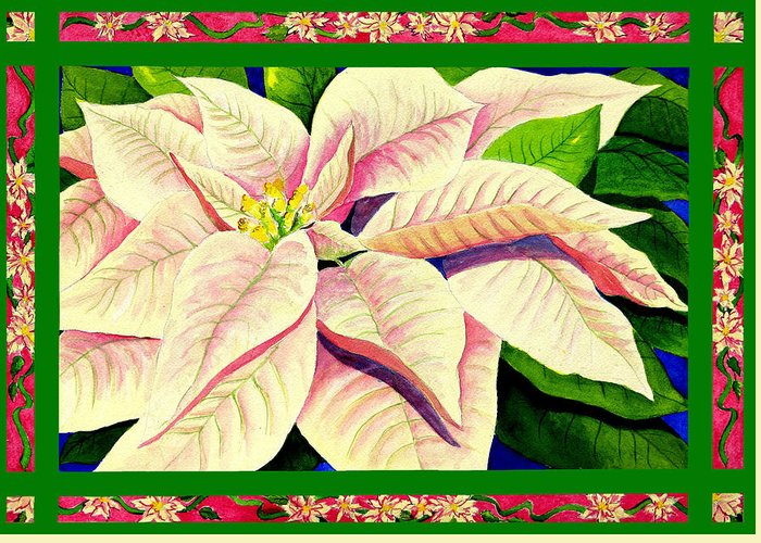 Christmas Artwork Greeting Card featuring the painting Christmas Poinsettia by Janis Grau