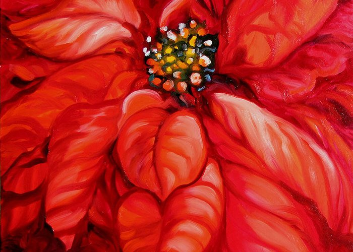 Red Greeting Card featuring the painting Christmas Poinsettia by Marcia Baldwin