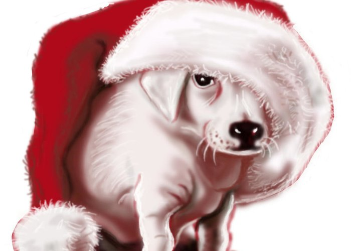 Christmas Greeting Card featuring the painting Christmas Pup by Kim Souza