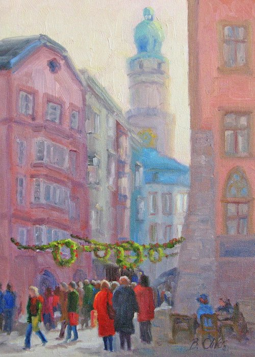 Street Scene Greeting Card featuring the painting Christmas Shopping - Innsbruck by Bunny Oliver