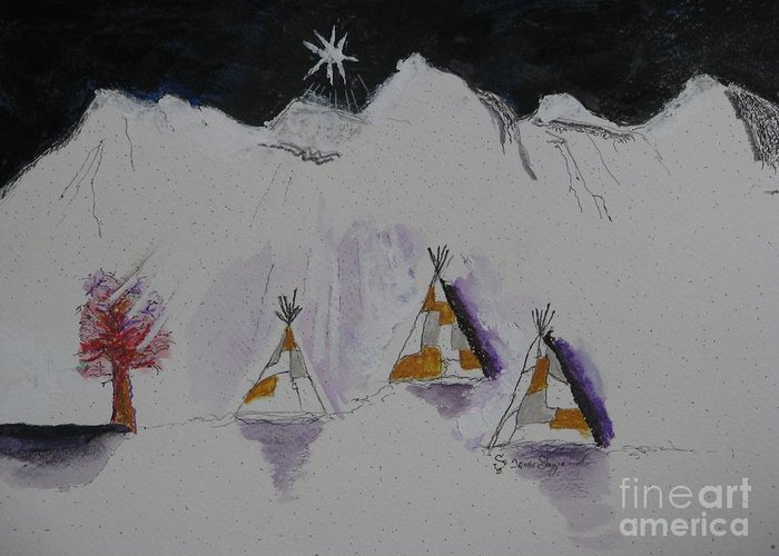 Christmas Star Greeting Card featuring the mixed media Christmas Teepees by James SheppardIII