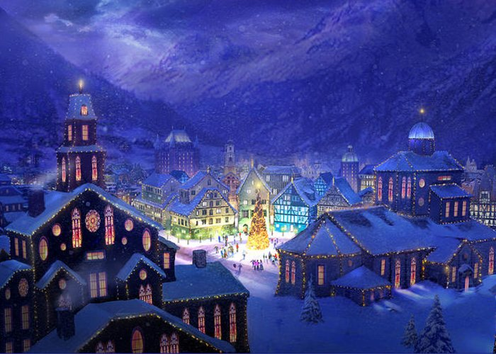 Christmas Greeting Card featuring the painting Christmas Town by Philip Straub