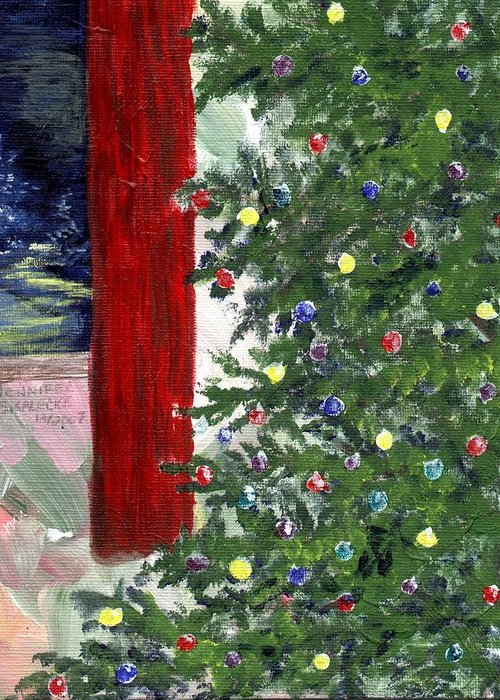 Christmas Greeting Card featuring the drawing Christmas Tree by Jennifer Skalecke