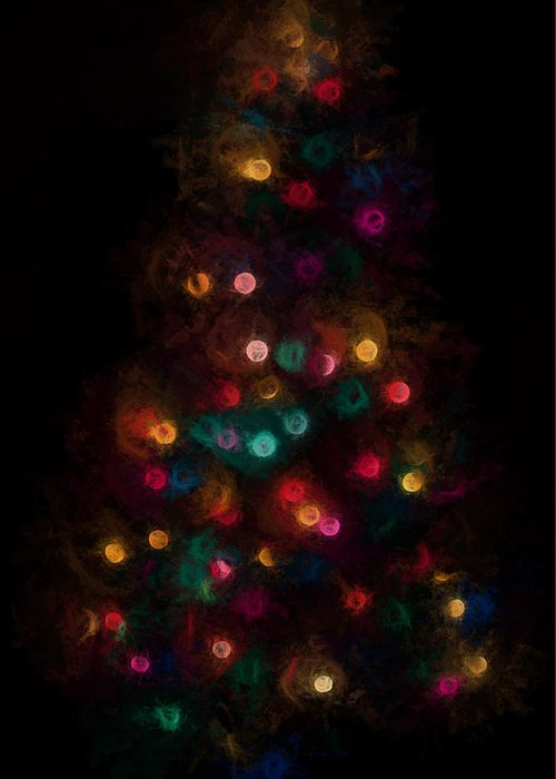Terry D Photography Greeting Card featuring the photograph Christmas Tree Splatter Paint Abstract by Terry DeLuco