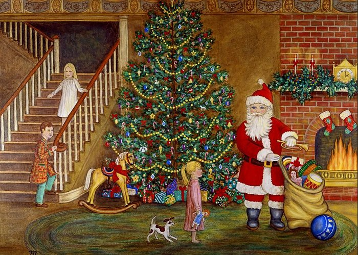 Christmas Greeting Card featuring the painting Christmas Visitor by Linda Mears