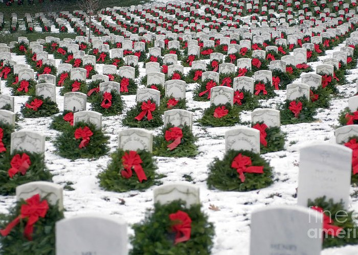 Horizontal Greeting Card featuring the photograph Christmas Wreaths Adorn Headstones by Stocktrek Images