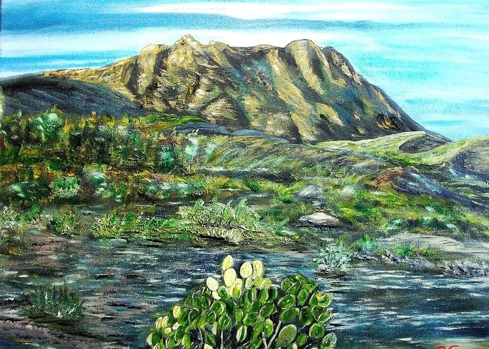 Landscape Greeting Card featuring the painting Christmass Mountains TX by Kenneth LePoidevin