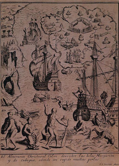 Christopher Greeting Card featuring the drawing Christopher Colombus Discovering The Islands Of Margarita And Cubagua Where They Found Many Pearls by Spanish School