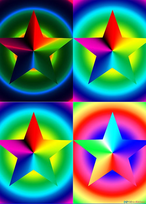 Pentacle Greeting Card featuring the digital art Chromatic Star Quartet With Ring Gradients by Eric Edelman