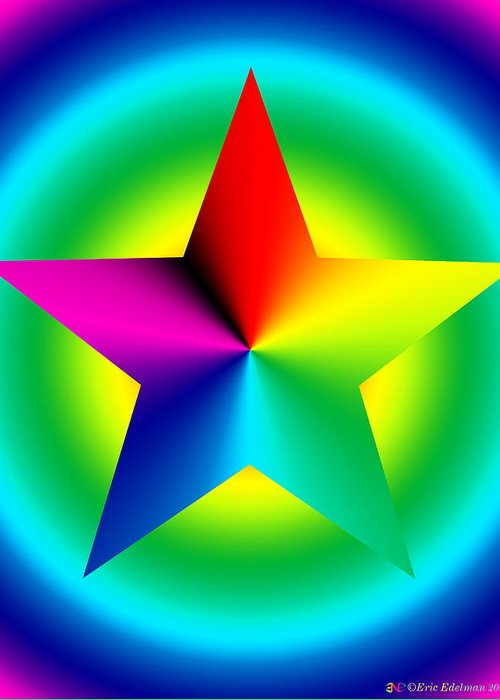 Pentacle Greeting Card featuring the digital art Chromatic Star With Ring Gradient by Eric Edelman