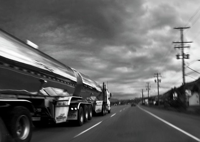 Man Greeting Card featuring the photograph Chrome Tanker by Theresa Tahara