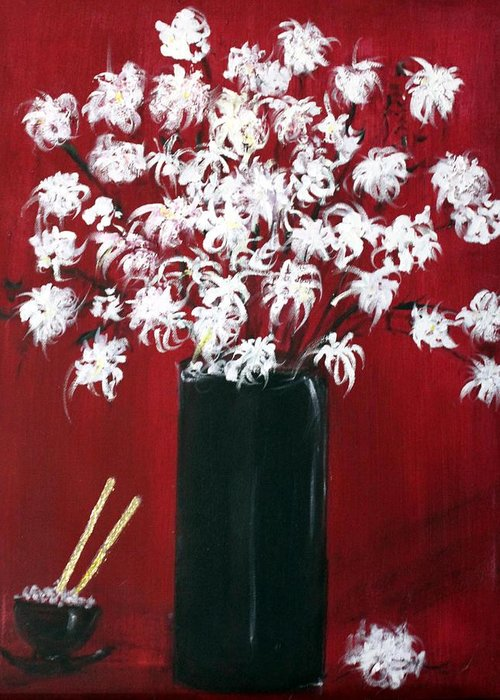 Still Life Greeting Card featuring the painting Chrysanthemums And The Rice Bowl by Michela Akers