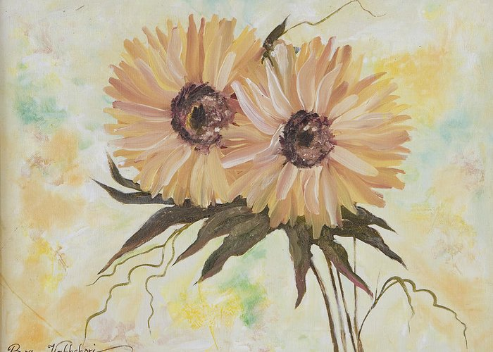 Flower. Greeting Card featuring the painting Chrysanthemums by Boz Vakhshori