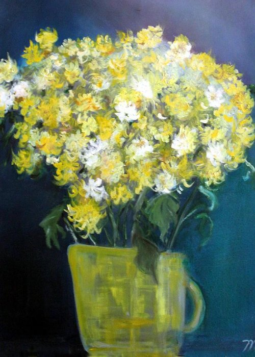 Chrysanthemums Greeting Card featuring the painting Chrysanthemums by Michela Akers