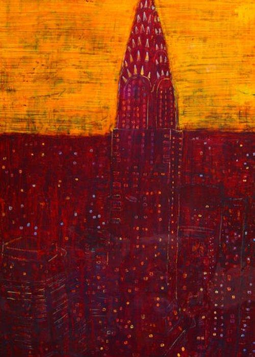 Chrysler Greeting Card featuring the painting Chrysler at dawn by Habib Ayat