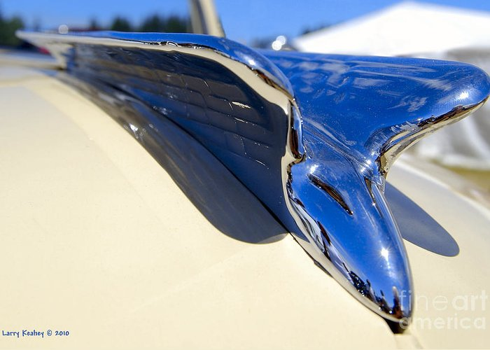 Chrysler Greeting Card featuring the photograph Chrysler New Yorker Deluxe Hood Ornament by Larry Keahey