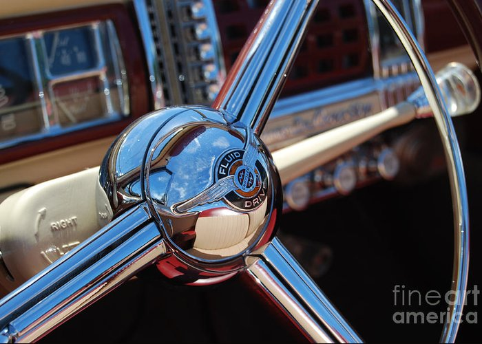 Classics Greeting Card featuring the photograph Chrysler Town And Country Steering Wheel by Larry Keahey
