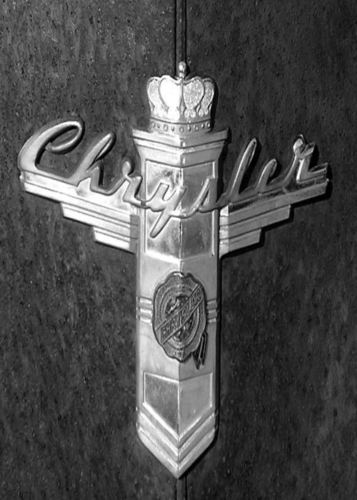 Car Greeting Card featuring the photograph Chrystler Emblem by Audrey Venute