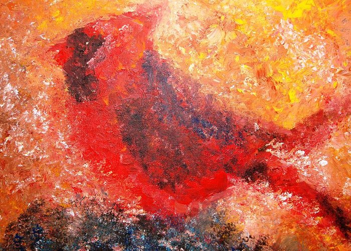 Bird Greeting Card featuring the painting Chubby Cardinal by Laura Grisham