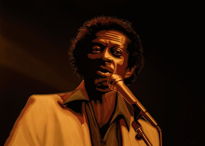 Chuck Berry Greeting Card featuring the mixed media Chuck Berry Gold by Paul Meijering