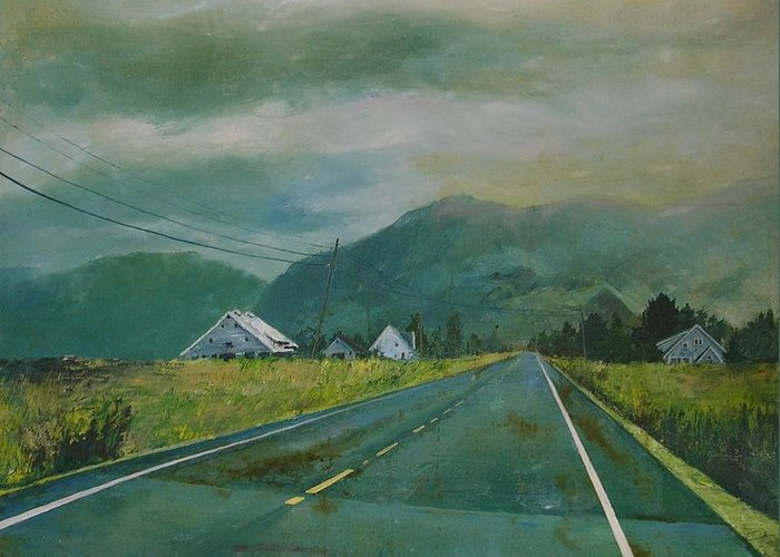 Landscape Greeting Card featuring the painting Chuckanut Drive by Richard Ong