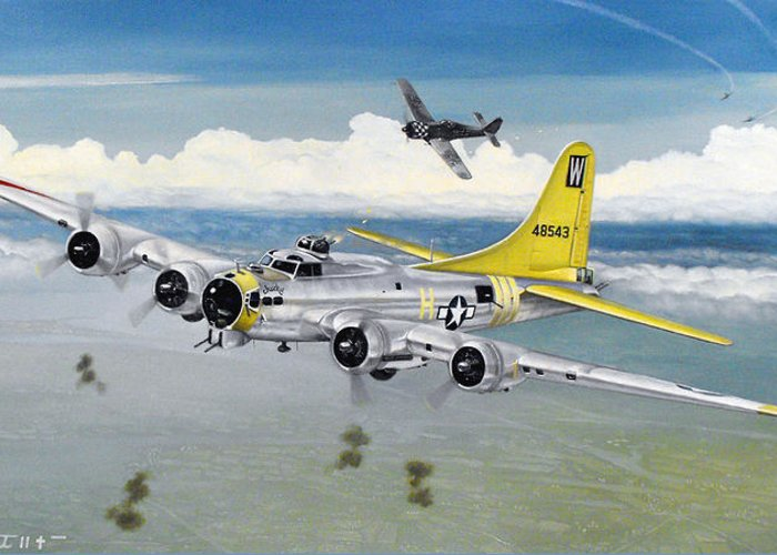B-17 Greeting Card featuring the painting Chuckie by Marc Stewart