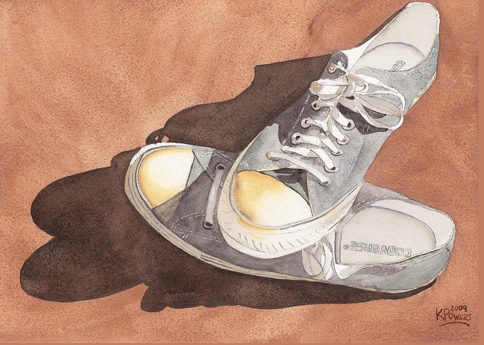 Shoes Greeting Card featuring the painting Chucks by Ken Powers