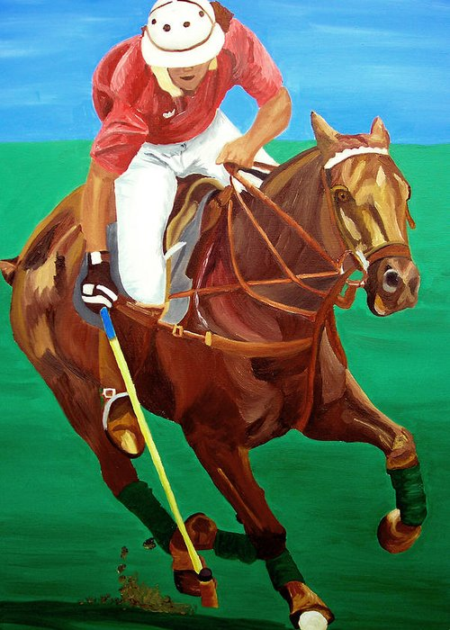 Polo Greeting Card featuring the painting Chukar by Michael Lee