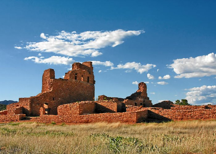 Church Greeting Card featuring the photograph Church Abo - Salinas Pueblo Missions Ruins - New Mexico - National Monument by Christine Till