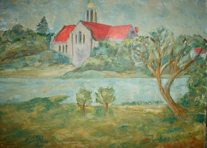 Landscape Churches River Trees Greeting Card featuring the painting Church Across River by Joseph Sandora Jr