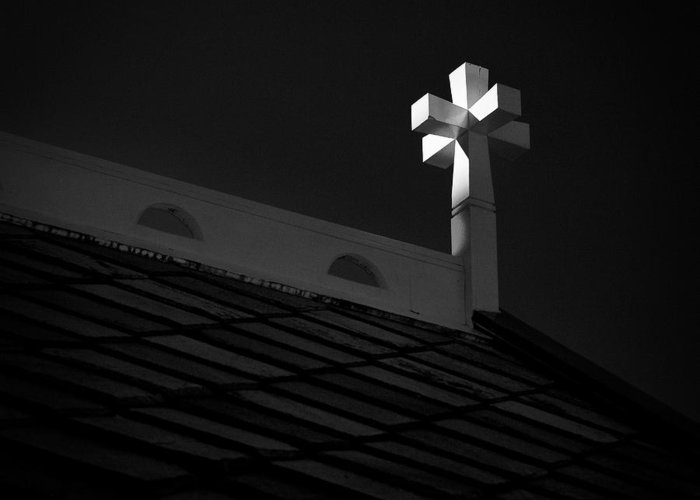 Cross Greeting Card featuring the photograph Church Cross by Dave Bowman
