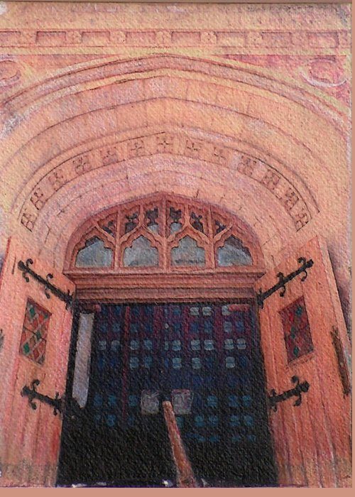 Door Greeting Card featuring the drawing Church Doors by Kenny King