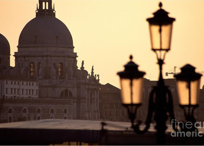 Venice Greeting Card featuring the photograph Church Of Santa Maria Della Salute With Lamp Post by Michael Henderson