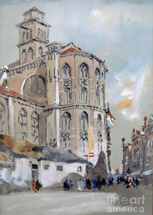 Hercules Brabazon Brabazon - Church Of Santa Maria Gloriosa De Frari Greeting Card featuring the painting Church Of Santa Maria by MotionAge Designs