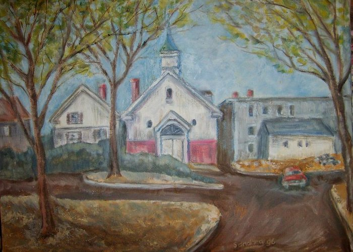 Landscape Greeting Card featuring the painting Church On Stone St. by Joseph Sandora Jr