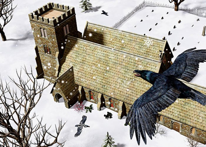 Ravens Greeting Card featuring the digital art Church Ravens by Peter J Sucy