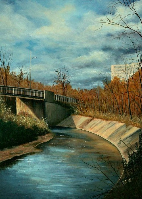 Original Acrylic Stretched Canvas Landscape Bridge Underpass Greeting Card featuring the painting Church St. Underpass by Sharon Steinhaus