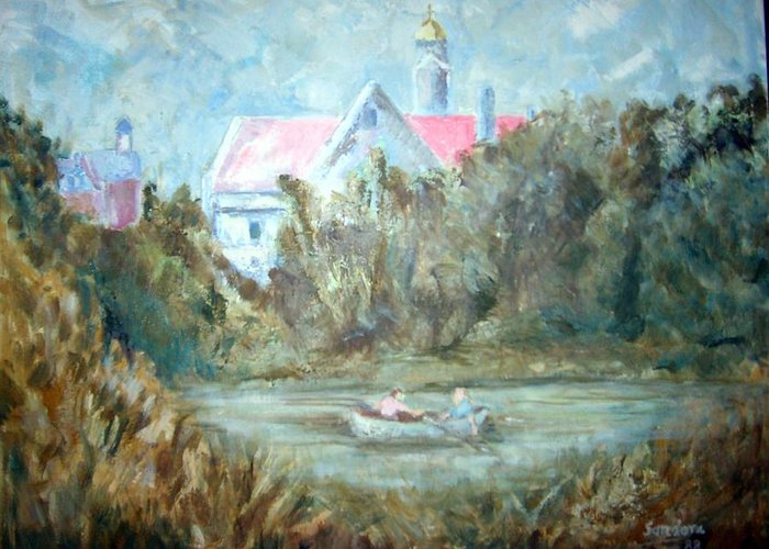 Landscape Boat Greeting Card featuring the painting Church With Boat In River by Joseph Sandora Jr