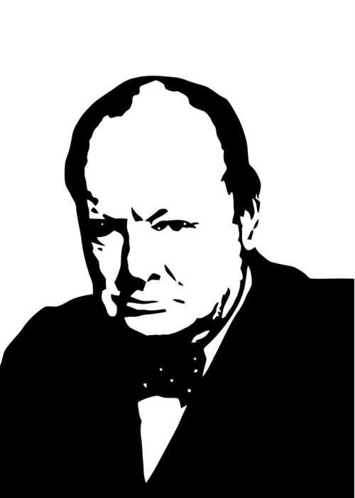 Winston Churchill Greeting Card featuring the digital art Churchill by War Is Hell Store