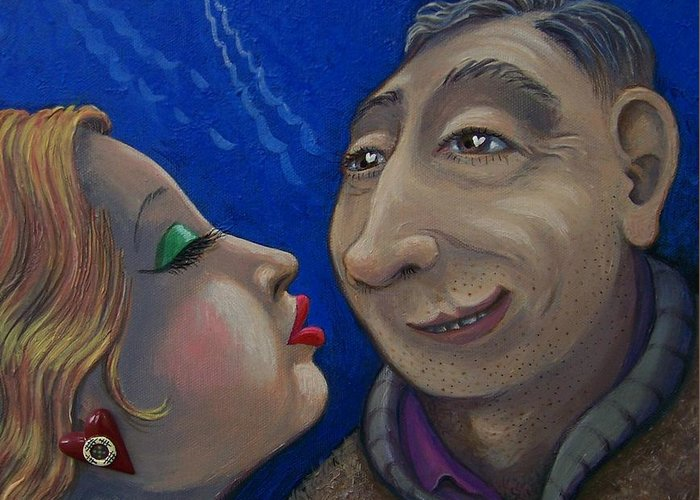 Romance Greeting Card featuring the painting Cid Meets Lorain by Marjorie Hause