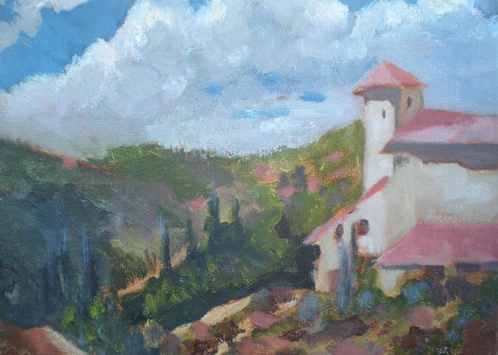 Landscape Off Del Dios Highway Greeting Card featuring the painting Cielo Villa by Bryan Alexander