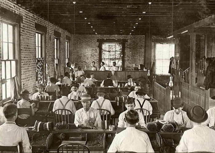 1909 Greeting Card featuring the photograph Cigar Factory, 1909 by Granger