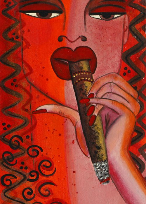 Cigar Artwork Greeting Card featuring the painting Cigar Moment Corona Cigar by Helen Gerro