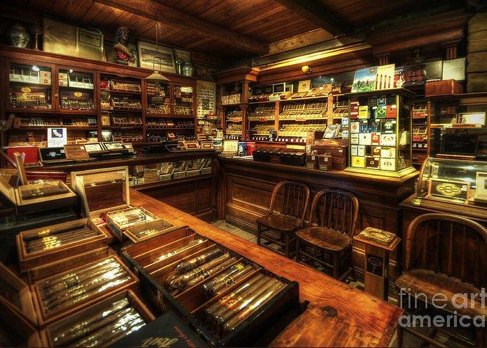 Art Greeting Card featuring the photograph Cigar Shop by Yhun Suarez