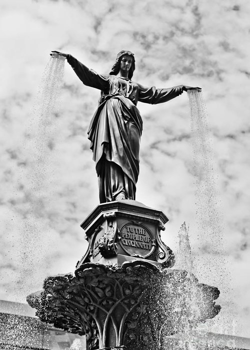 America Greeting Card featuring the photograph Cincinnati Fountain Tyler Davidson Genius Of Water Statue by Paul Velgos